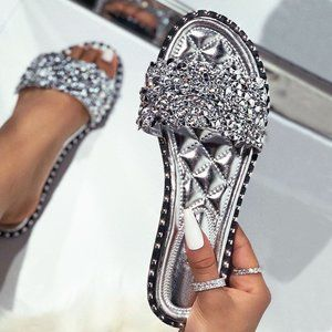 NEW🔥Rhinestone Open Toe Quilted Slide Flat Sandal